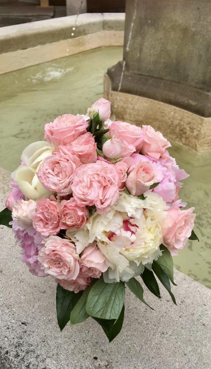 bouquet rose mariage fleuriste Saint Cloud le Chapelin Fretz