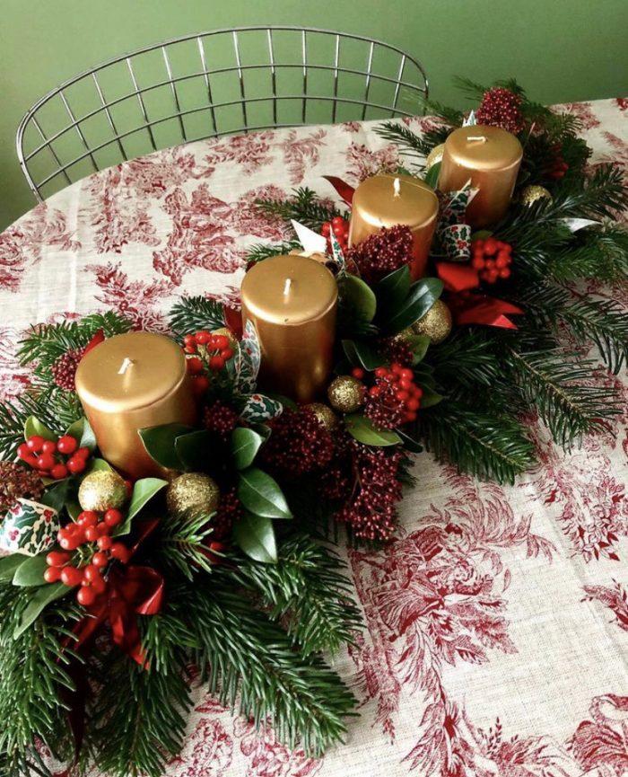 centre de table Noel fleuriste Saint Cloud le Chapelin Fretz