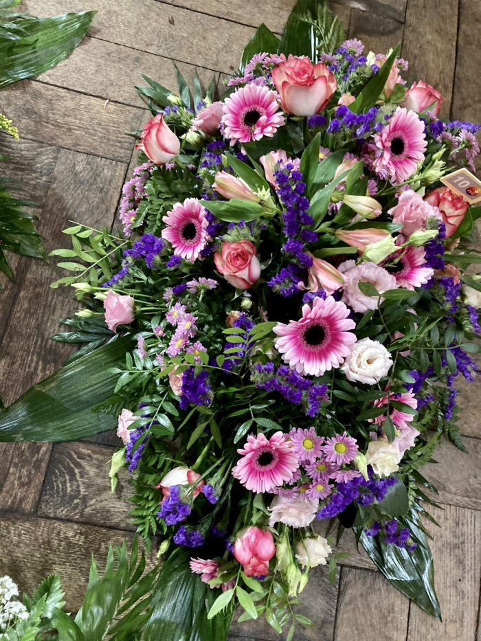 fleurs roses et violettes deuil Saint Cloud le Chapelin Fretz