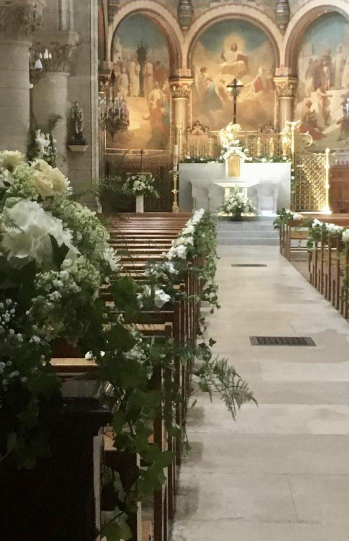 decoration mariage église Saint Cloud fleuriste le Chapelin Fretz